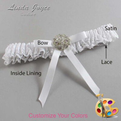 Customizable Wedding Garter / Buffy #09-B04-M11-Silver