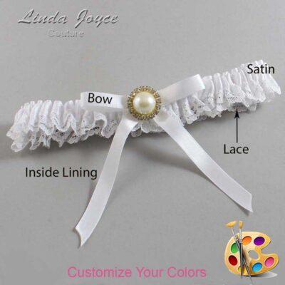 Customizable Wedding Garter / Dixie #09-B04-M21-Gold
