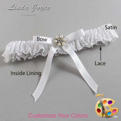 Customizable Wedding Garter / Donna #09-B04-M23-Silver