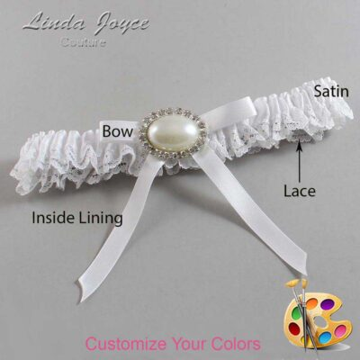 Customizable Wedding Garter / Eliza #09-B04-M30-Silver
