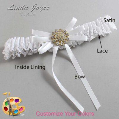 Customizable Wedding Garter / Bambi #09-B11-M12-Gold