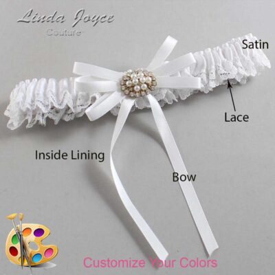 Customizable Wedding Garter / Cheryl #09-B11-M16-Gold