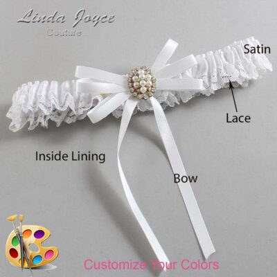 Customizable Wedding Garter / Chrissy #09-B11-M17-Gold