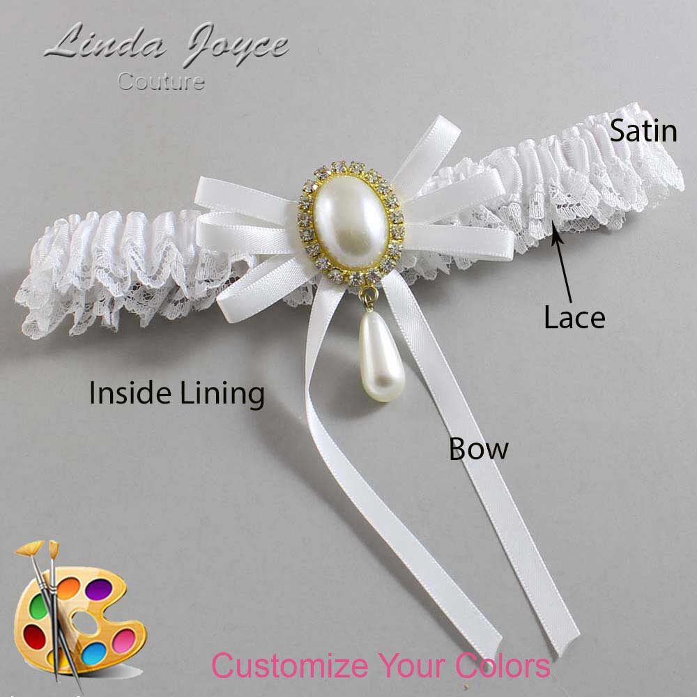Customizable Wedding Garter / Florence #09-B11-M34-Gold