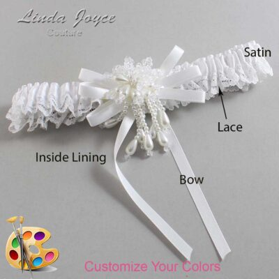 Customizable Wedding Garter / Gabrielle #09-B11-M38-Pearl