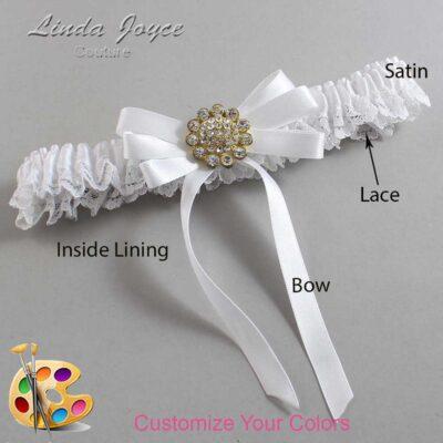Customizable Wedding Garter / Brett #09-B12-M12-Gold