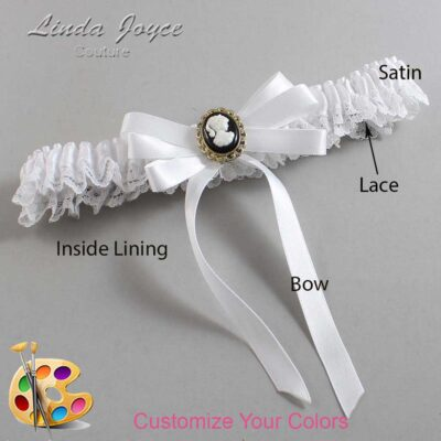 Customizable Wedding Garter / Sally #09-B12-M15-Black-Gold