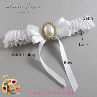 Customizable Wedding Garter / Zoe #09-B12-M29-Gold