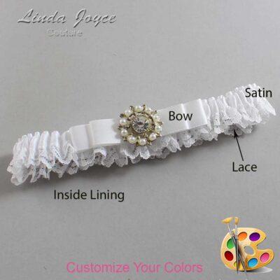 Customizable Wedding Garter / Kelsea #09-B20-M14-Silver