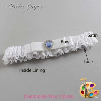 Customizable Wedding Garter / Louann #09-B20-M25-Silver-Light-Sapphire
