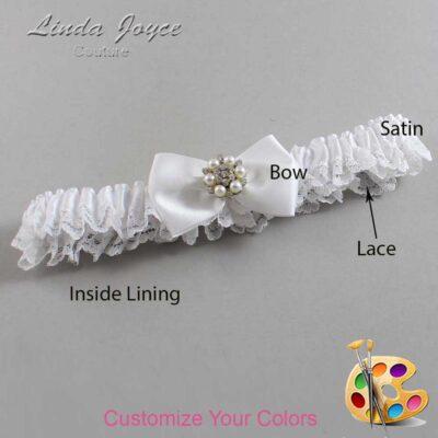 Customizable Wedding Garter / Alexis #09-B21-M23-Silver