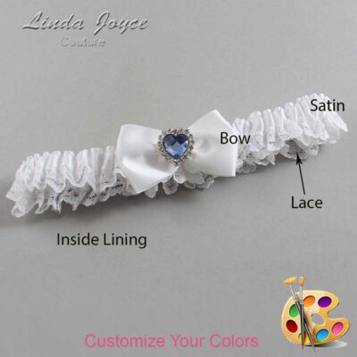 Customizable Wedding Garter / Alice #09-B21-M25-Silver-Light-Sapphire