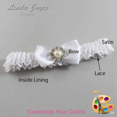 Customizable Wedding Garter / Louise #09-B31-M24-Silver