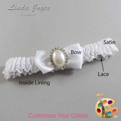 Customizable Wedding Garter / Mindy #09-B31-M31-Silver