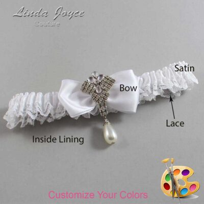 Customizable Wedding Garter / Mavis #09-B31-M33-Silver