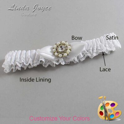 Customizable Wedding Garter / Drew #09-B41-M14-Silver