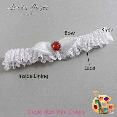 Customizable Wedding Garter / Cindy #09-B41-M26-Silver-Ruby
