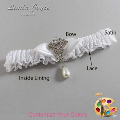 Customizable Wedding Garter / Claudette #09-B41-M33-Silver