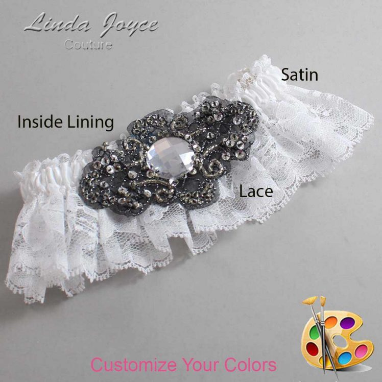 Couture Garters / Custom Wedding Garter / Customizable Wedding Garters / Personalized Wedding Garters / Bijou # 10-A02-Black / Wedding Garters / Bridal Garter / Prom Garter / Linda Joyce Couture