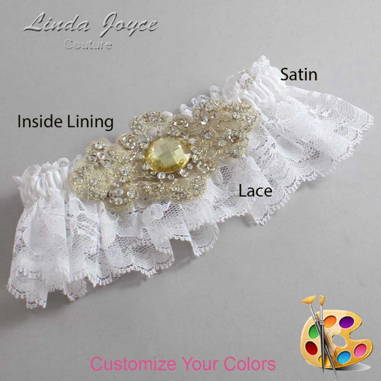 Couture Garters / Custom Wedding Garter / Customizable Wedding Garters / Personalized Wedding Garters / Bijou # 10-A03-Gold / Wedding Garters / Bridal Garter / Prom Garter / Linda Joyce Couture