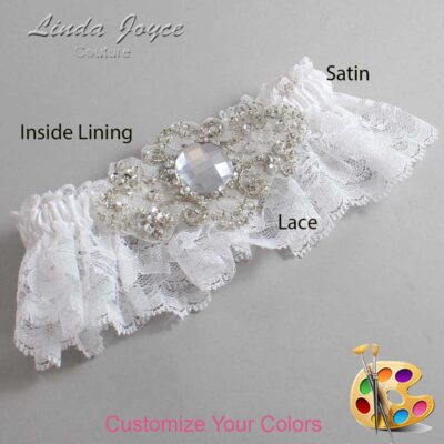 Couture Garters / Custom Wedding Garter / Customizable Wedding Garters / Personalized Wedding Garters / Bijou # 10-A04-Silver / Wedding Garters / Bridal Garter / Prom Garter / Linda Joyce Couture