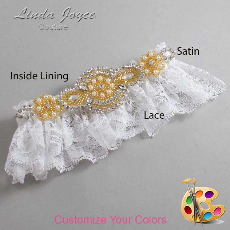 Couture Garters / Custom Wedding Garter / Customizable Wedding Garters / Personalized Wedding Garters / Charlotte # 10-A05-Gold / Wedding Garters / Bridal Garter / Prom Garter / Linda Joyce Couture