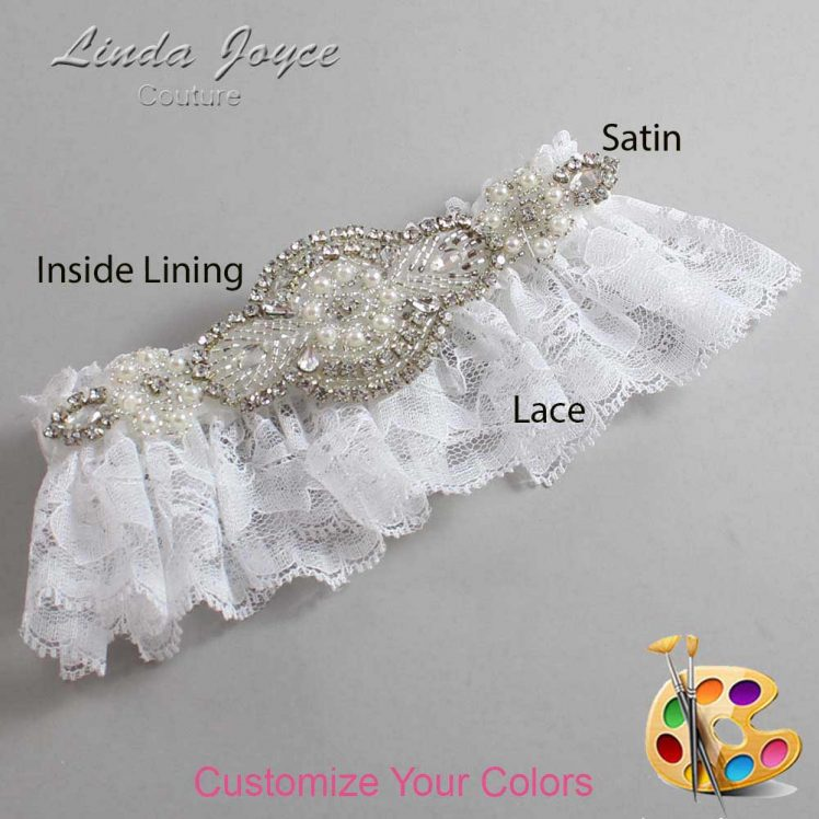 Couture Garters / Custom Wedding Garter / Customizable Wedding Garters / Personalized Wedding Garters / Charlotte # 10-A06-Silver / Wedding Garters / Bridal Garter / Prom Garter / Linda Joyce Couture