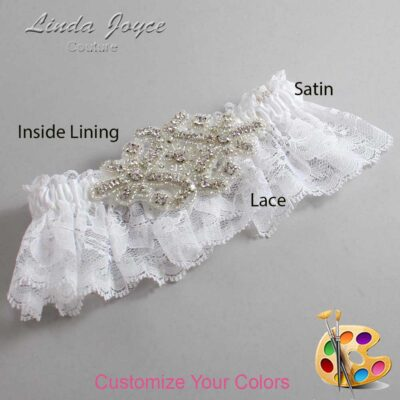 Couture Garters / Custom Wedding Garter / Customizable Wedding Garters / Personalized Wedding Garters / Heather # 10-A07-Silver / Wedding Garters / Bridal Garter / Prom Garter / Linda Joyce Couture