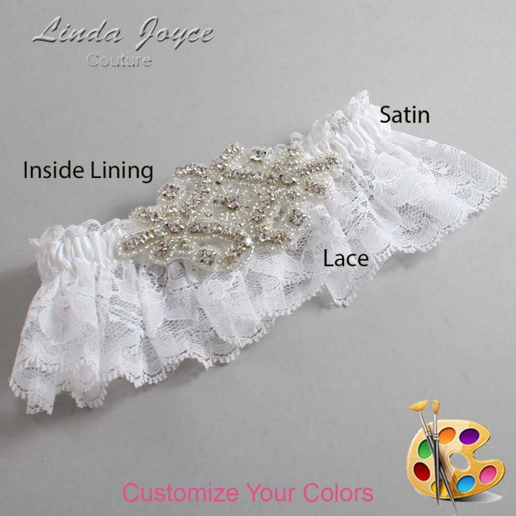 Couture Garters / Custom Wedding Garter / Customizable Wedding Garters / Personalized Wedding Garters / Heather # 10-A07-Silver / Wedding Garters / Bridal Garter / Prom Garter / Linda Joyce Couture