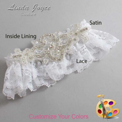 Couture Garters / Custom Wedding Garter / Customizable Wedding Garters / Personalized Wedding Garters / Isabella # 10-A08-Silver / Wedding Garters / Bridal Garter / Prom Garter / Linda Joyce Couture
