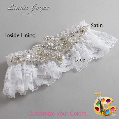 Couture Garters / Custom Wedding Garter / Customizable Wedding Garters / Personalized Wedding Garters / Lorine # 10-A09-Silver / Wedding Garters / Bridal Garter / Prom Garter / Linda Joyce Couture
