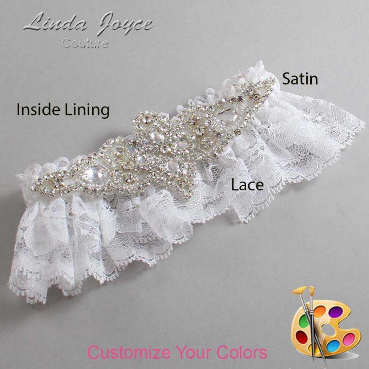 Couture Garters / Custom Wedding Garter / Customizable Wedding Garters / Personalized Wedding Garters / Lorine # 10-A09-Silver / Wedding Garters / Bridal Garter / Prom Garter / Linda Joyce Couture