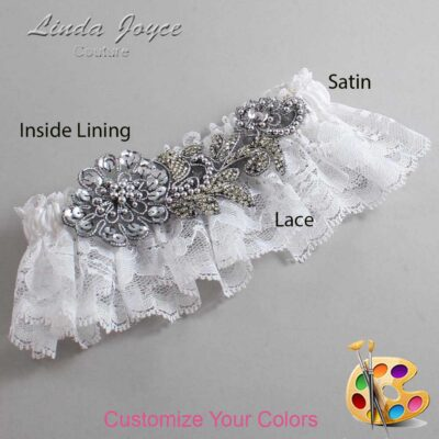 Couture Garters / Custom Wedding Garter / Customizable Wedding Garters / Personalized Wedding Garters / Mitzi # 10-A10-Gunmetal / Wedding Garters / Bridal Garter / Prom Garter / Linda Joyce Couture
