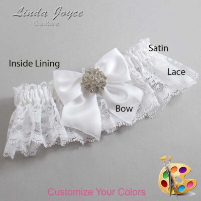 Customizable Wedding Garter / Elizabeth #10-B01-M11-Silver