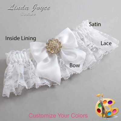 Customizable Wedding Garter / Penny #10-B01-M12-Gold