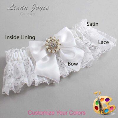 Customizable Wedding Garter / Adelle #10-B01-M14-Silver