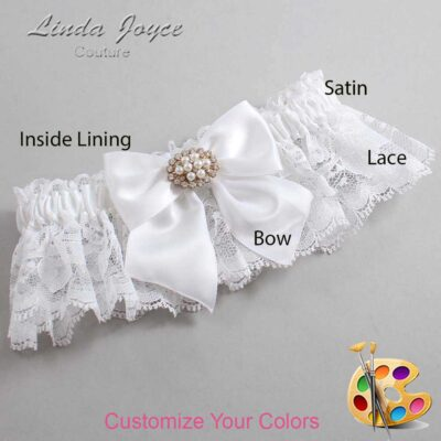 Customizable Wedding Garter / Cynthia #10-B01-M16-Gold
