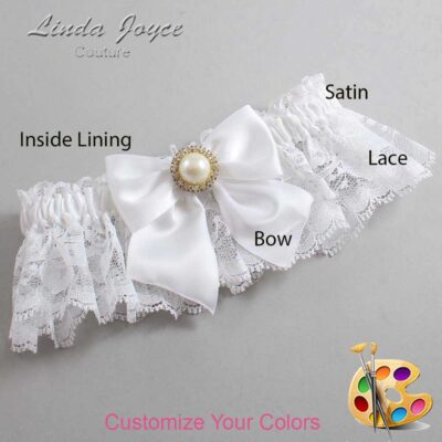 Customizable Wedding Garter / Paige #10-B01-M21-Gold