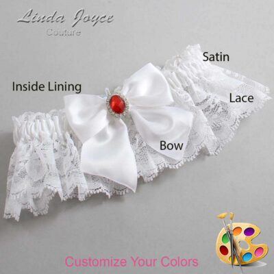 Customizable Wedding Garter / Danita #10-B01-M26-Silver-Ruby