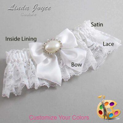Customizable Wedding Garter / Nicole #10-B01-M30-Silver
