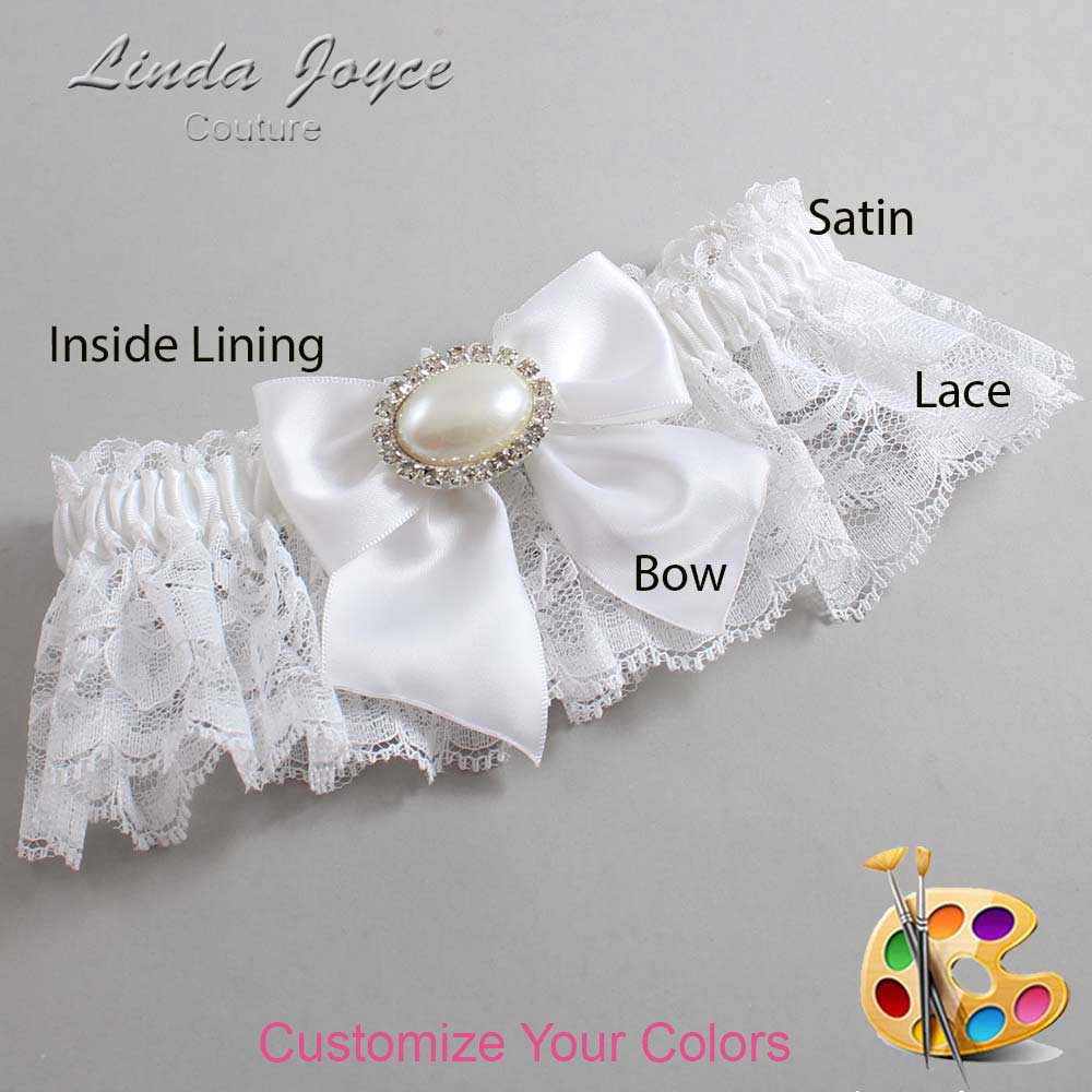 Customizable Wedding Garter / Nicole #10-B01-M30-Silver