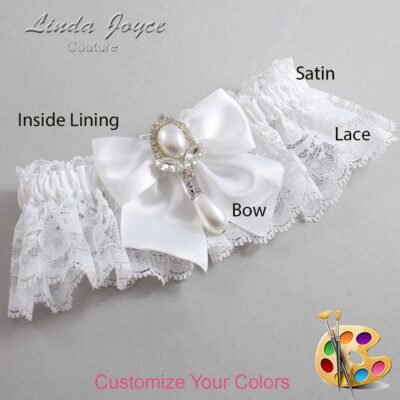 Customizable Wedding Garter / Jessica #10-B01-M32-Silver