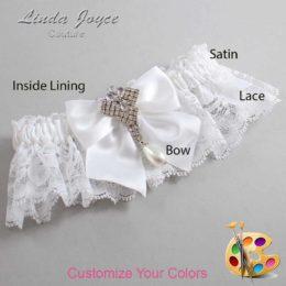 Customizable Wedding Garter / Madeline #10-B01-M33-Silver