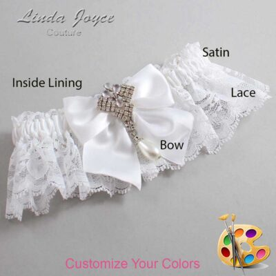 Customizable Wedding Garter / Madeline #10-B01-M33-Silver
