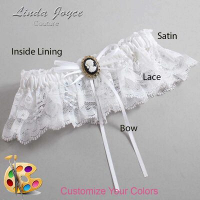 Customizable Wedding Garter / Hazel #10-B10-M15-Black-Gold