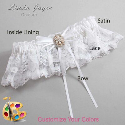 Customizable Wedding Garter / Gwen #10-B10-M17-Gold