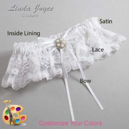 Customizable Wedding Garter / Gail #10-B10-M20-Silver