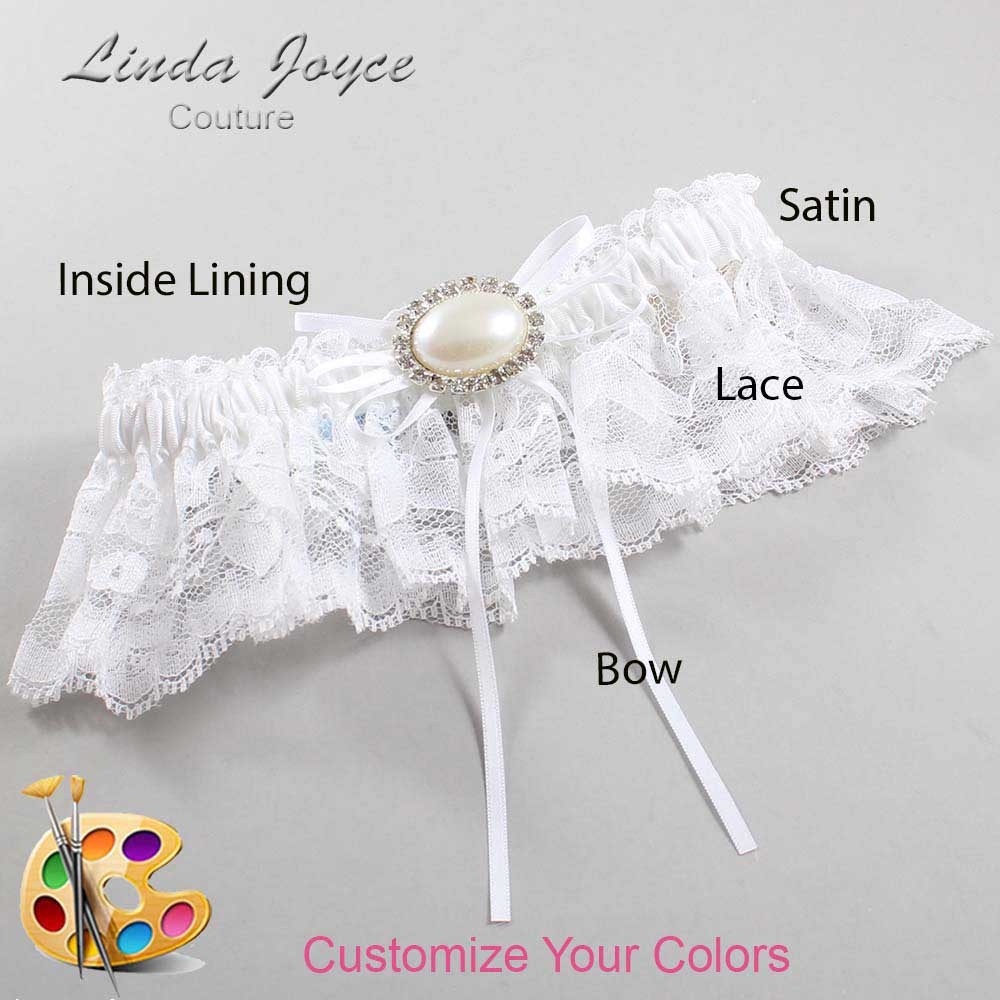 Customizable Wedding Garter / Jacque #10-B10-M30-Silver