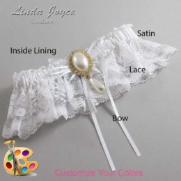 Customizable Wedding Garter / Andrea #10-B10-M34-Gold