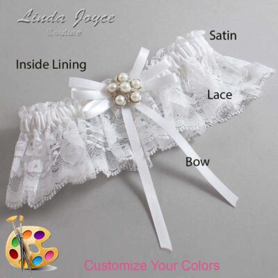 Customizable Wedding Garter / Bailey #10-B11-M13-Silver
